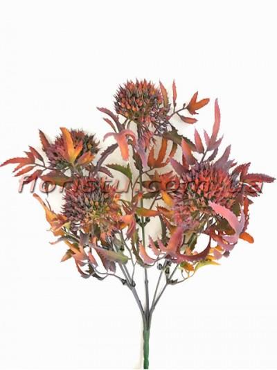 Чертополох искусственный с острыми листьями Бордо гол. 4 см