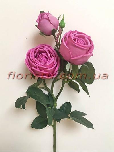 Роза искусственная премиум класса Пиано сиреневая 75 см гол.8 см