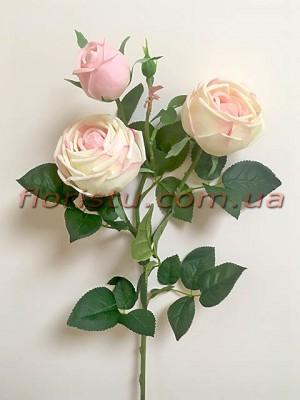 Роза искусственная премиум класса Пиано кремово-розовая 75 см гол.8 см