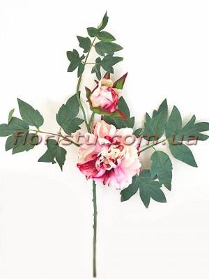 Ветка с пионом розово-бордовым и листьями премиум класса 60 см гол. 14 см