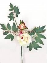 Ветка с пионом кремово-бордовым и листьями премиум класса 60 см гол. 14 см