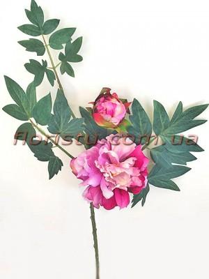 Ветка с пионом розово-малинового и листьями премиум класса 60 см гол. 14 см