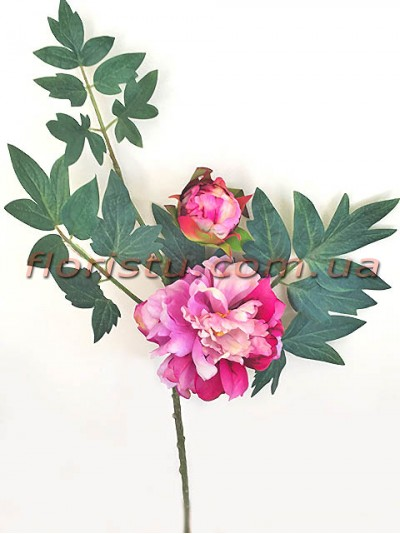Ветка с пионом розово-малиновым и листьями премиум класса 60 см гол. 14 см