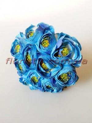 Букет ранункулюсов премиум голубых 12 голов 3-5 см