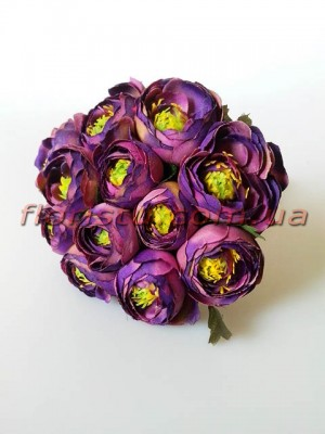 Букет ранункулюсов премиум фиолет 12 голов 3-5 см
