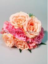 Букет-дублер объемный из роз и гортензии Персиково-розовый гол. 9 см