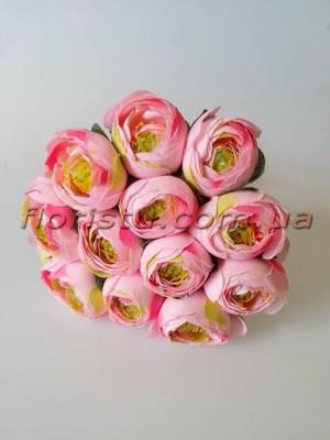 Букет ранункулюсов премиум розовых 12 голов 3-5 см