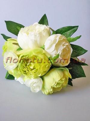 Букет-дублер из пионов белых и нежно-салатовых 30 см гол. 7-9 см
