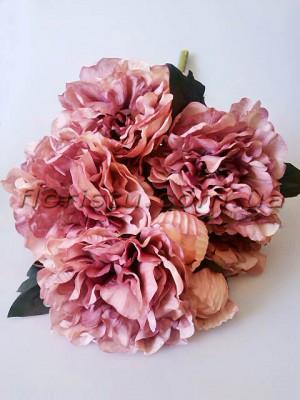 Букет махровых пионов Винтаж премиум пепельный сиренево-розовый 55 см гол. 15 см