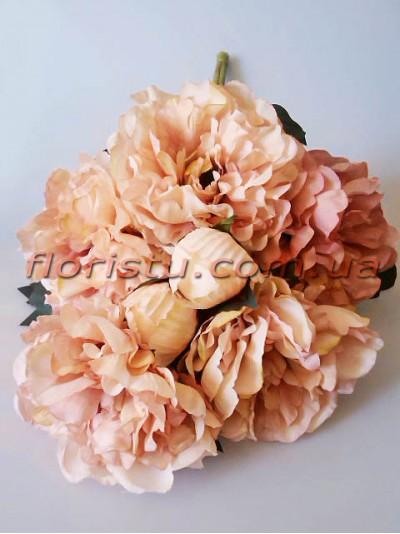 Букет махровых пионов Винтаж премиум персиково-розовый 55 см гол.15 см