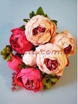 Букет пионов Винтаж Шик премиум класса с добавками Розово-фламинговый 50 см