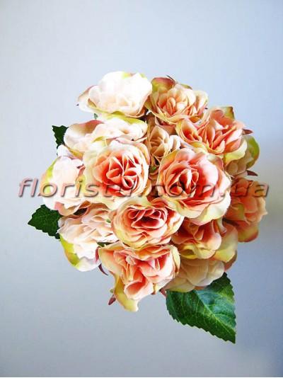 Букет роз Прованс персиковых 15 голов 4-5 см