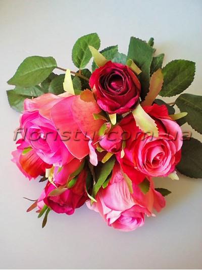 Букет-дублер премиум из роз Эден малиново-розовый 30 см