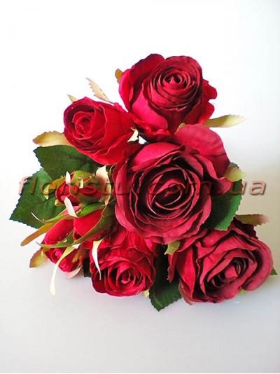 Букет-дублер премиум из роз Эден бордово-красный 30 см