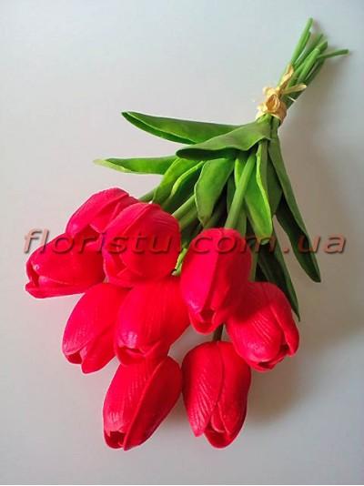 Букет тюльпанов из латекса красных 9 шт. 30 см