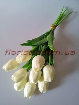 Букет тюльпанов из латекса белых 9 шт. 30 см