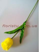 Тюльпан из латекса премиум класса Желтый 65 см