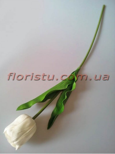Тюльпан из латекса премиум класса Белый 65 см
