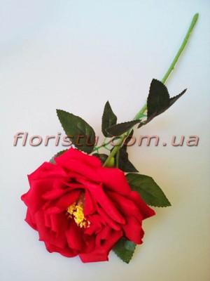 Роза чайная искусственная премиум Красная 55 см гол.12 см