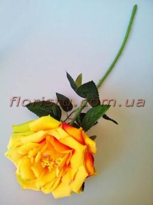 Роза чайная искусственная премиум Желтая с салатовым 55 см гол.12 см