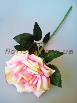 Роза чайная искусственная премиум Нежно-розовая с салатовым 55 см гол.12 см