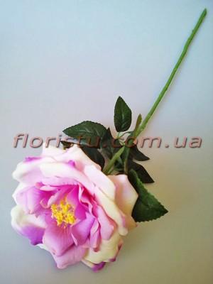 Роза чайная искусственная премиум Нежно-сиреневая с салатовым 55 см гол.12 см