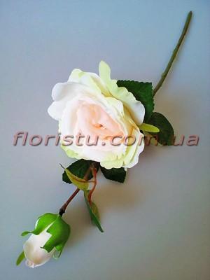 Роза крупная с бутоном Светло-розовая с салатовым 42 см гол. 14 см
