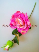 Роза крупная с бутоном Сочно-розовая 42 см гол. 14 см