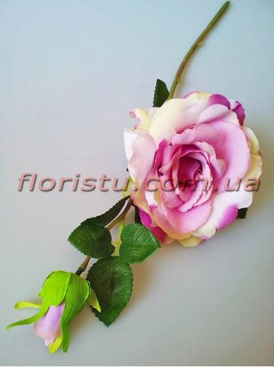 Роза крупная с бутоном Нежно-сиреневая с салатовым 42 см гол. 14 см