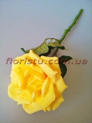 Роза чайная искусственная премиум Желтая 40 см гол.12 см