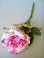 Роза чайная искусственная премиум Нежно-сиреневая с салатовым 40 см гол.12 см