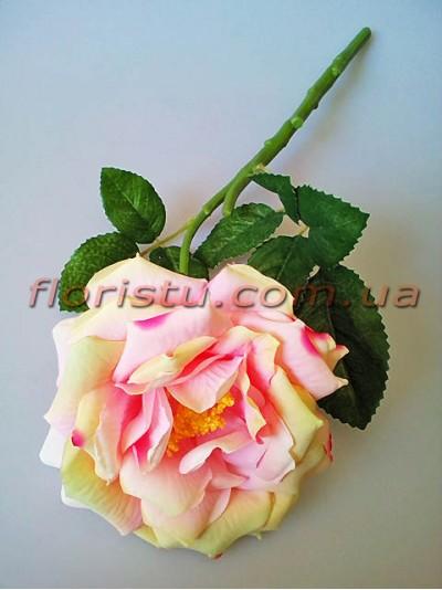Роза чайная искусственная премиум Нежно-розовая с салатовым 40 см гол.12 см