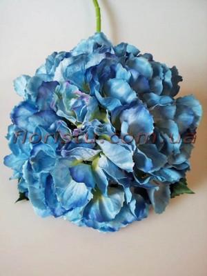 Гортензия искусственная премиум класса Royal сочно-голубая гол. 20 см 55 cм