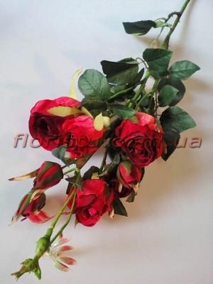 Розы Эден бордово-красные искусственная ветка 1 м