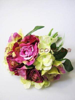 Букет Мемори роза+ранункулюс+гортензия фиолетовый 25 см 9 голов