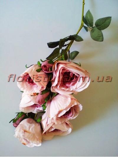 Роза гэлакси искусственная ветка премиум пепельно-сиреневая винтажная гол. 7 см 72 см