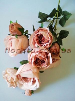 Роза гэлакси искусственная ветка премиум пепельно-розовая винтажная гол. 7 см 72 см