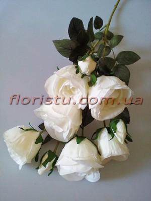 Роза гэлакси искусственная ветка премиум белая гол. 7 см 72 см