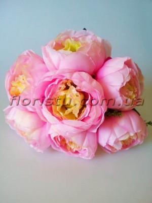 Пионы искусственные яркие Розовые 7 гол. 9 см