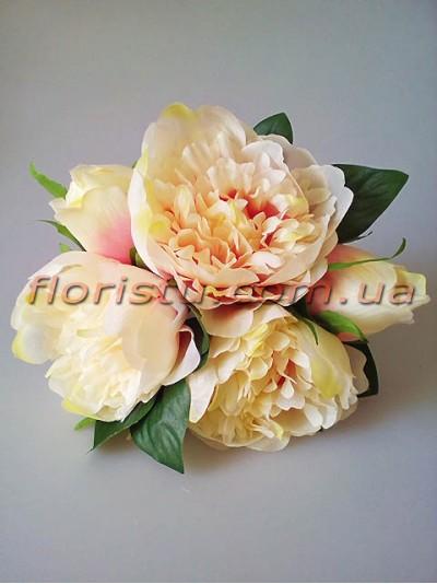Букет-дублер из пионов Свадебный кремово-розовый 25 см гол. 10 см