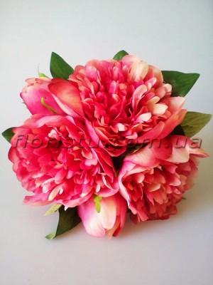 Букет-дублер из пионов Свадебный винно-розовый 25 см гол. 10 см