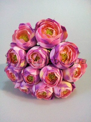 Букет ранункулюсов премиум сиренево-розовых 12 голов 3-5 см