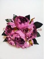 Букет-дублер из пионов бордово-фиолетовых 30 см