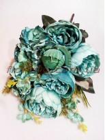 Букет пионов Винтаж премиум класса с гортензией изумрудно-голубой 50 см