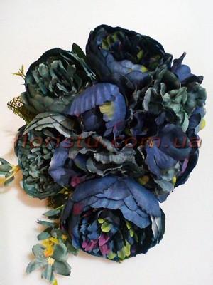 Букет пионов Винтаж премиум класса с гортензией темно-синий 50 см