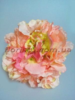 Букет-дублер Пионы и гортензия премиум класса персиково-розовый 30 см