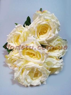 Букет из зефирных роз премиум класса Ванильно-кремовых 7 гол. 57 см