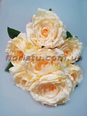 Букет из зефирных роз премиум класса Нежно-персиковых 7 гол. 57 см