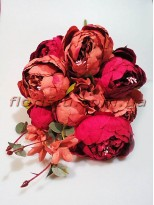 Букет пионов Винтаж Шик премиум класса с добавками Пурпурно-терракотовый 50 см