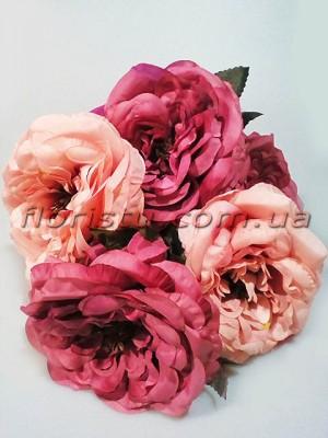 Букет из чайных роз премиум класса Шик винно-розовый 5 гол. 15 см